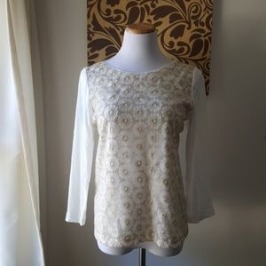 J.Crew Lace Layered Long Sleeved Top